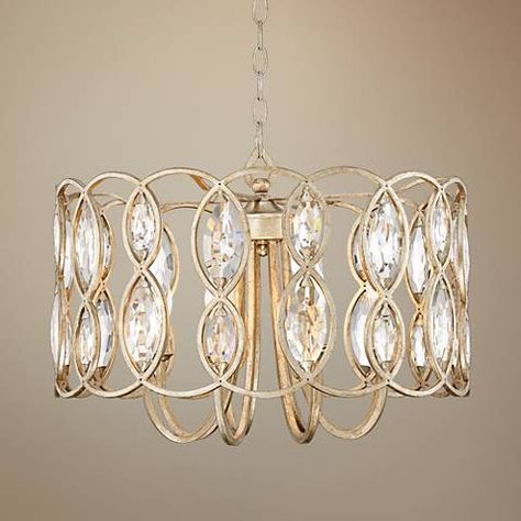 Silver Mist Crystal Drum Shade Chandelier Lighting with Faceted Crystal Balls