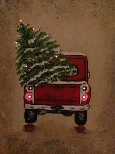 Pin By Bonnie Barowy On Christmas Christmas Tree Drawing Christmas Tree Canvas Christmas Tree Truck
