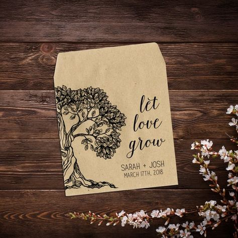 25 Let Love Grow Favors, Seed Packet Favor, #seedpackets #seedfavors #weddingfavors #weddingseedfavor #wildflowerseeds #letlovegrow #weddingseedpackets #rusticwedding #seedpacketfavor #rusticfavor #flowerseedpacket #tree #woodsy