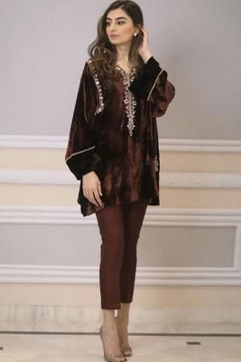 Buy Dark Coffee Color Velvet Embroidered Straight Pant Suit -Dress Elegant straight pant suit Accompanied by a matching Bottom and Scarf.