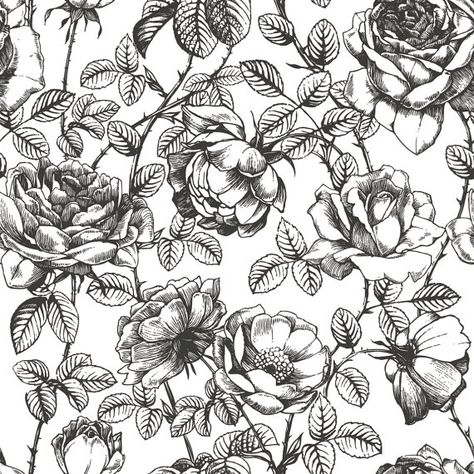 Black and White Floral Wallpaper Flower Pattern