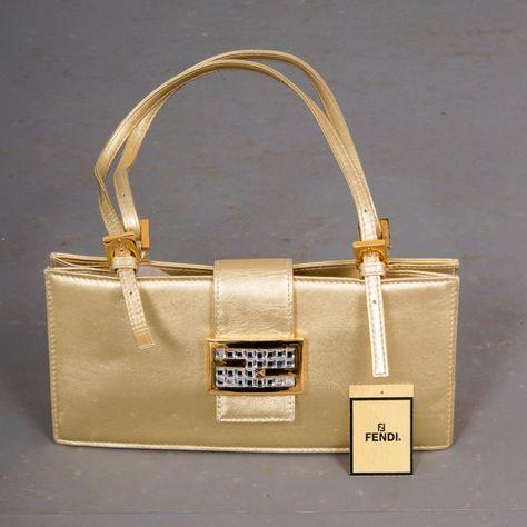Fendi Vintage Womens Crystal Logo Palladium Gold Metallic Flap Purse Handbag   fashion  clothing   d854dc0c80a31