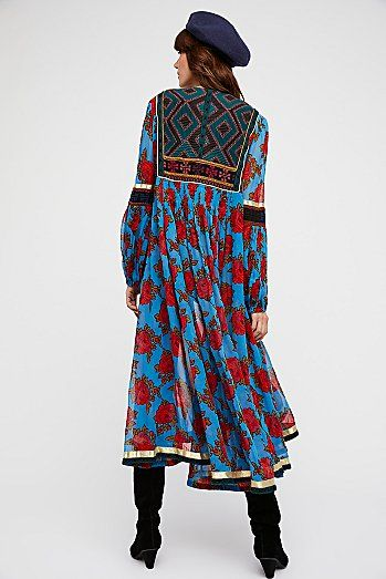 Bold Blooms Embroidered Dress