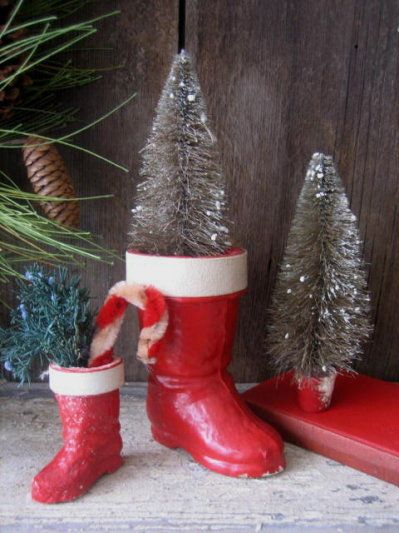 Santa Boot Ornaments Sugar Coated Vintage Frosted Sugar Tree Decorations in Original Box Sets of 4 Red Ornaments Glitter Santa Boot
