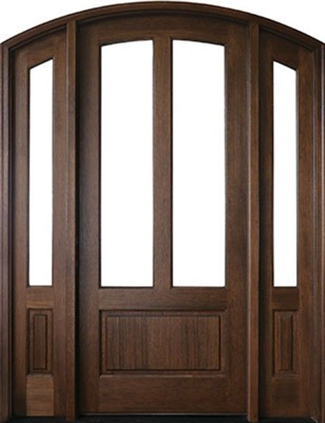 Mahogany Trinity 2 Lite Single Door 2sidelite Arch Top 2 1 4 Thick Single Doors Mahogany French Doors Patio