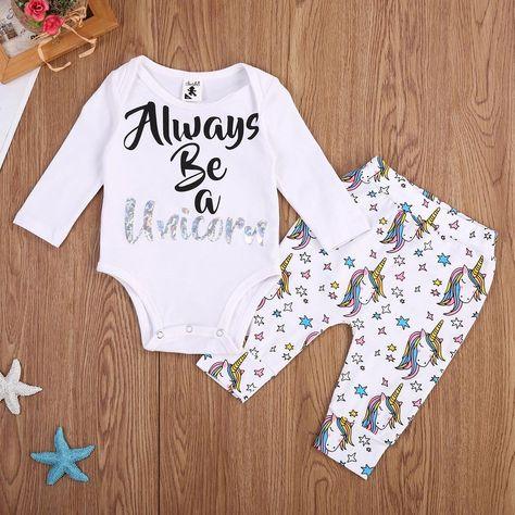 fda4a1a44 US Stock Newborn Baby Romper Unicorn Long Pants Leggings Outfits ...