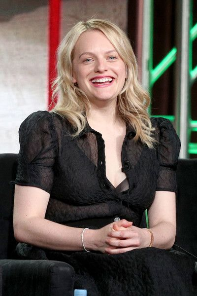 Executive producer/actor Elisabeth Moss of 'The Handmaid's Tale' speaks onstage during the Hulu portion of the 2018 Winter Television Critics Association Press Tour.