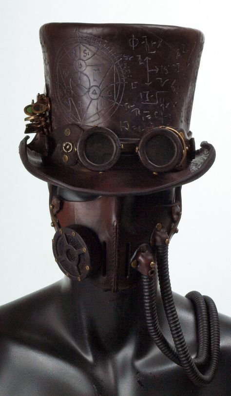 Steampunk u. Gothic Steampunk Leather-based Tophat by ~Valimaa on deviantART Ample Fragrance Selecti Steampunk Hut, Moda Steampunk, Costume Steampunk, Steampunk Mask, Steampunk Top Hat, Steampunk Design, Steampunk Clothing, Steampunk Fashion, Steampunk Drawing