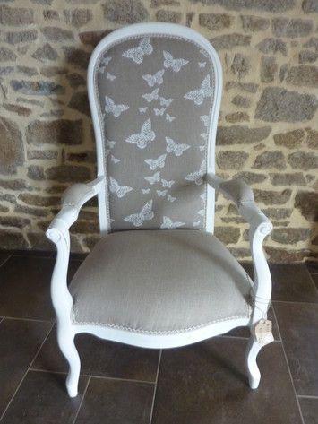 Du blanc et du lin pour ce fauteuil Voltaire restauré   bútor ...