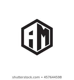Initial Letters Am Negative Space Hexagon Shape Monogram Logo