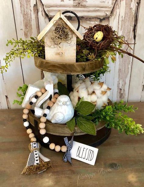 "NWT Farm Farmhouse decor Spring Tier Tray Easter -10/"" Wood Bead Garland"