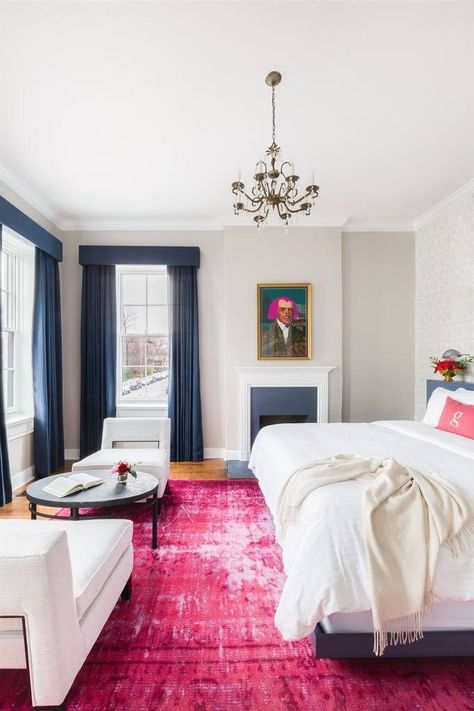 German Town Inn with Conde Nast Traveler and The New York Times Hot Pink Rug with Alyssa Rosenheck Photography Hot Pink Bedrooms, My New Room, House Rooms, Home Fashion, Room Inspiration, Home Remodeling, Bedroom Decor, Palette, Couch