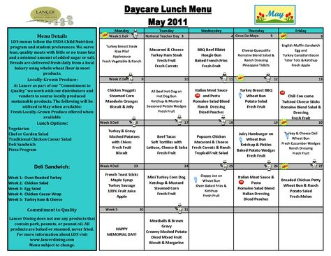 Day Care Lunch Menu Template