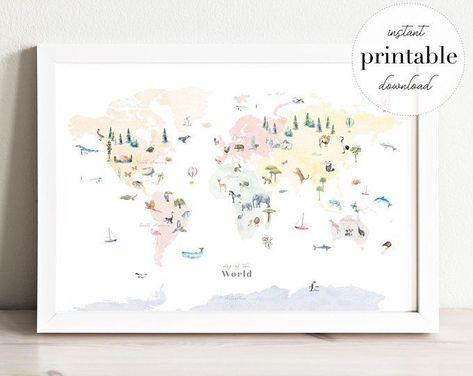 Colorful Landmarks World Map Printable, wall art print, nursery decor, kids room, travel print, drawing, map art, wall map, continents#art #colorful #continents #decor #drawing #kids #landmarks #map #nursery #print #printable #room #travel #wall #world