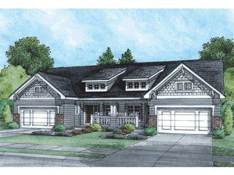 031m 0043 One Story Duplex House Plan Craftsman Style House Plans Duplex House Plans Craftsman House Plans
