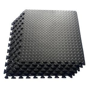 Ottomanson Multi Purpose Black 24 In X 24 In Eva Foam Interlocking Anti Fatigue Exercise Tile Mat 6 Pack Efm 24 Black Puzzle Mat Interlocking Foam Mats Gym Flooring
