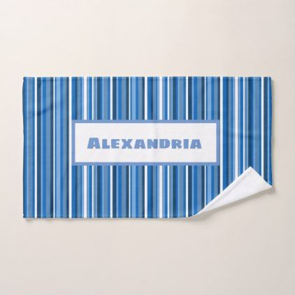 Blue Navy White Stripes Hand Towel White Gifts Elegant Diy Gift