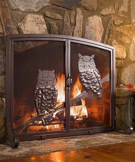 Enjoy Your Fireplace Safely And Accent Your Space With A Rustic Touch By Adding This Owl Adorned Screen In Front Of Fireplace Screens Fireplace Home Fireplace