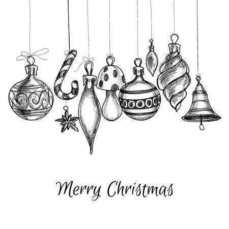 Black And White Christmas Hand Drawn Ornaments Christmas Drawing Ornament Drawing Christmas Cards