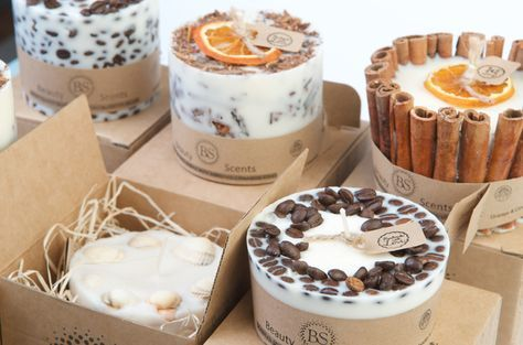 Handmade Scented Soy Candles of six deferent designs which vary in scents and sizes