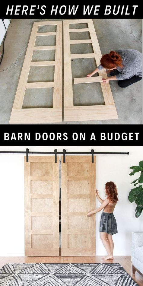 Here's how we made our modern barn doors on a budget! #diybarndoor #barndoors #modernbarndoor Diy Furniture Projects, Diy Wood Projects, Furniture Makeover, Home Projects, Diy Bedroom Projects, Garden Projects, Diy Furniture On A Budget, Bedroom Crafts, City Furniture