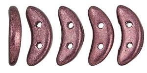 30 Beads Saturated Metallic Red Pear Crescent CzechMates 2-Hole Beads Czech Glass