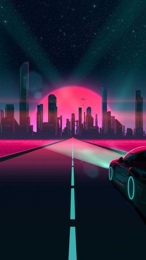 Cyber City Road Iphone Wallpaper Retro Futurizm Nochnaya Fotografiya Retro Volny