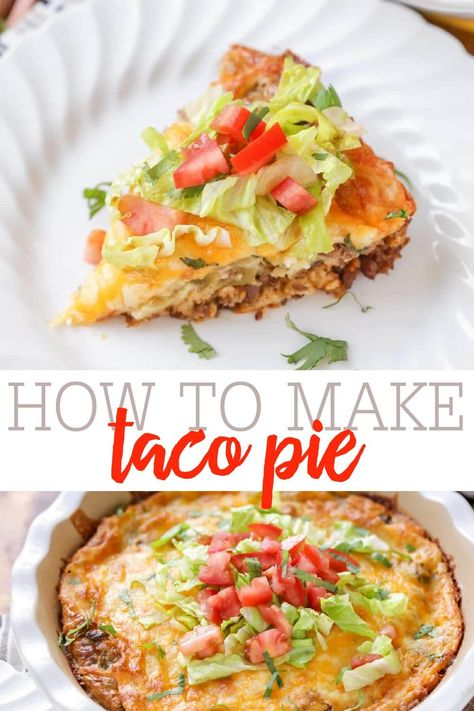 I really think you'll like this pie, especially if you're a fan of Mexican casseroles and Taco Salads (that's what I feel this recipe is a combination of). It's delicious! #tacopie #taco #mexicancasserole #tacosalad #tacorecipe
