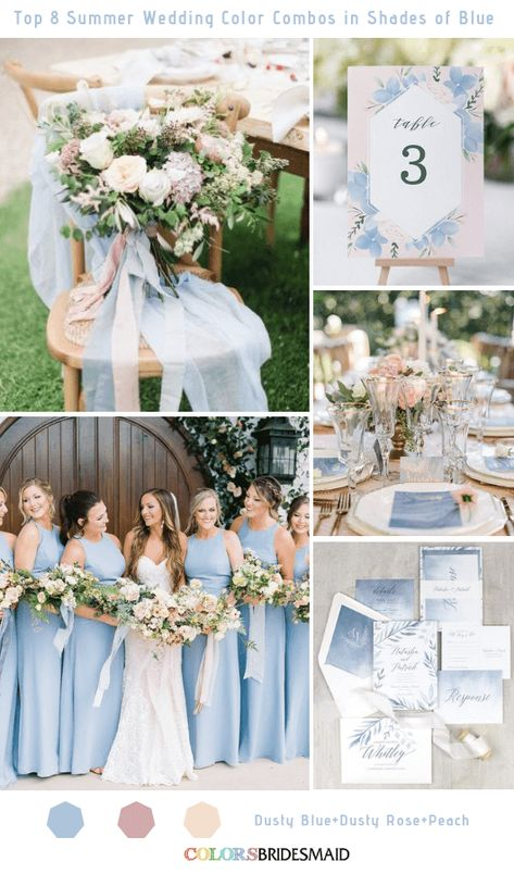 Top 8 Summer Wedding Color Combos in Shades of Blue for 2019 Dusty Blue wedding palette Top 8 Summer Wedding Color Combos in Shades of Blue for 2019