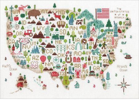 Illustrated Usa Map Cross Stitch Kit Cross Stitch Map Sewing