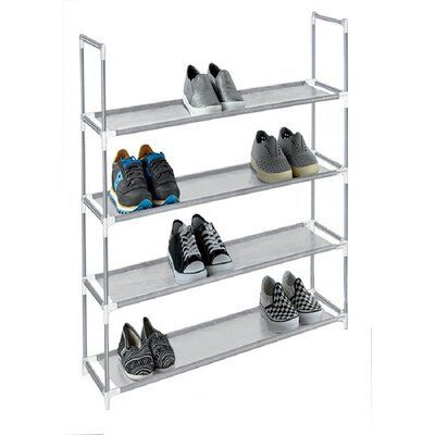 Rebrilliant 4 Tier Plastic 12 Pair Stackable Shoe Rack Finish Grey Finish Grey Pair Plast In 2020 Plastic Shoe Rack Storage Closet Organization Stackable Shoe Rack