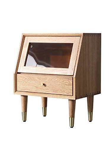 Wahe Solid Wood Bedside Table Modern Minimalist Light Luxury Oak