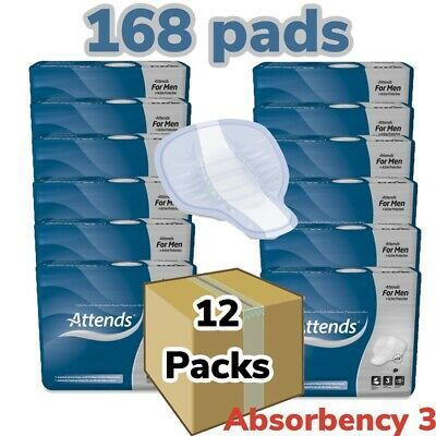 Details About 12 X Attends For Men Level 3 599ml 12 Packs Of 14 Incontinence Aid Pads Male Ebay Man Pad Bed Pads