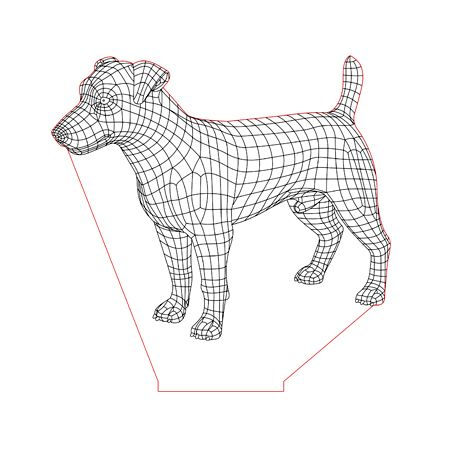 Russel Terrier Dog 3d Illusion Lamp Plan Vector File For Laser And Cnc 3bee Studio 3d Illusions 3d Illusion Lamp Illusions