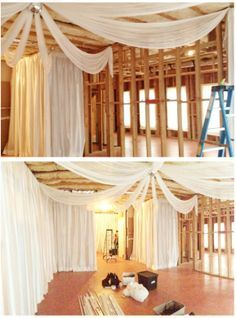 House Party In An Unfinished Basement. Drape Can Really Transform.