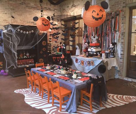 What a fun Mickey Mouse Halloween birthday party! See more party ideas at CatchMyParty.com!