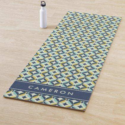 Add Your Name Geometric Gold Blue Pattern Yoga Mat Zazzle