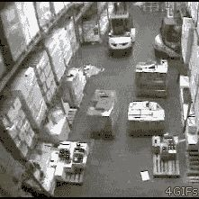 Guy crushes a forklift into warehouse racks and makes them all collapse on his head. Needless to say, he got fired later the same day.