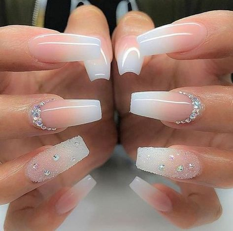 + Ideas for Coffin Shaped Nails to Rock This Summer bridal manicure idea, long coffin-style nails, with pink and white ombre-like nail polish, decorated with rhinestones and glitter - Beliebt Nagel Design Bride Nails, Prom Nails, Cute Nails, Pretty Nails, Nails Yellow, Red Nail, Nails Design With Rhinestones, Best Acrylic Nails, White Acrylic Nails With Glitter