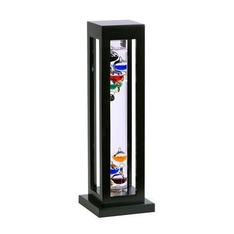 "Galileo Thermometer Black Finish Square Wood Frame 15"""