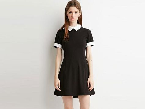Casual Black Dress with Collar