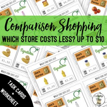Comparison Shopping Up To 10 Task Cards Worksheet Money Math Activities Task Cards Life Skills Special Education Comparison shopping worksheets for students