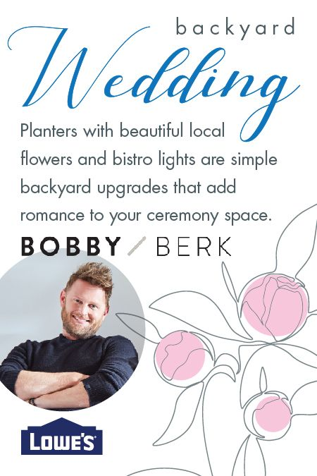 Designer Bobby Berk recommends adding local flowers to planters for romance you can enjoy even after the ceremony.