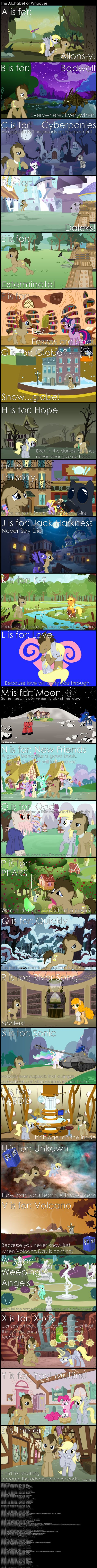 The Alphabet of Whooves (two massive fandoms collide! Got most of them- except the muffins. Wha? Thats a MLP thing, not DW.  ... I cant believe I know that).