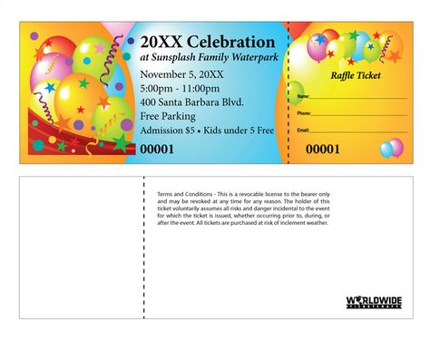 Having a celebration? Make it unforgettable with these Celebration - numbering tickets in word