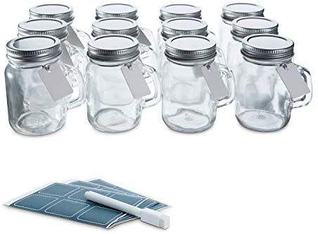 Amazon Com Launch Sale Glass Favor Jars With Lids 3 4oz Mini Mason Jar Wedding Favors Bottles With Chalkb Mini Mason Jars Mini Mason Jar Favors Mason Jars
