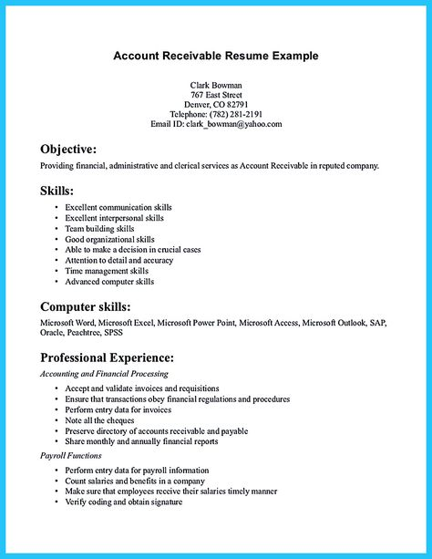 accounts receivable resume presents both skills and also the - Accounts Receivable Resume Samples