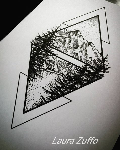 laurazuffottt#Mountain #mountains #pines #lake #mountainlake #dotwork #illustration #drawing #geometric T-shirt soon available in my etsy shop --> www.etsy.com/shop/LOWdesign #beautytatoos