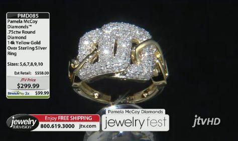 Pamela McCoy Diamonds(Tm) .75ctw Round Diamond 14k Yellow Gold Over Sterling Silver Ring ERV: $558.00 JTV Price: $299.99