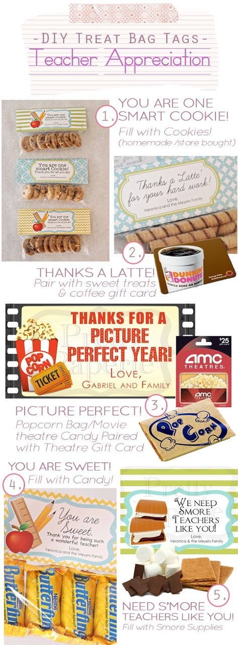 DIY Teacher Appreciation Treat Bags Inspiration Board - Printables & coordinating Ideas of what to put in the treat bags!